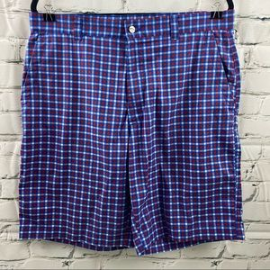 Calaway blue and red plaid golf shorts